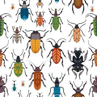 Seamless cute beetle pattern for kids