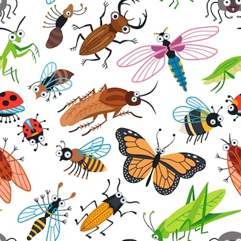 Seamless  cute beetles pattern for kids. cute children design