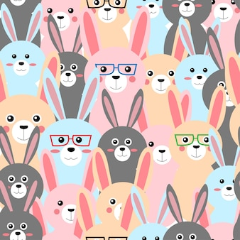 Seamless cute bunny rabbit pastel cartoon pattern
