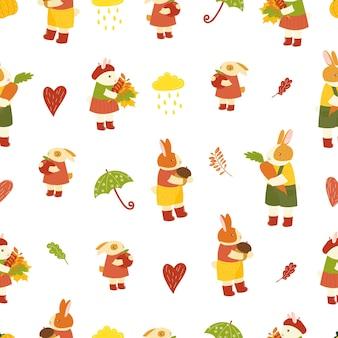 シームレスかわいいウサギのウサギのパターン秋の手描き漫画うさぎ森の動物