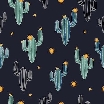 Seamless cute cactus pattern  background