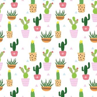 Seamless cute cactus pattern