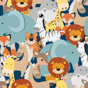 Seamless cute cartoon animal pattern