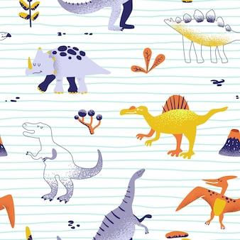 Бесшовные милый мультфильм динозавров. вектор ребенка дино фоновой текстуры. фон для текстиля, ткани, обоев принт