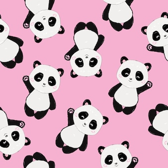 Seamless cute cartoon panda pattern