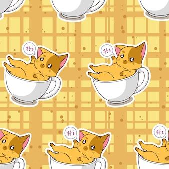 Seamless cute cat in a cup pattern.