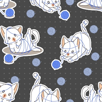 Seamless cute cat is naughty pattern.