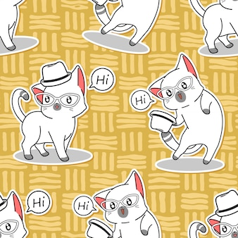 シームレスなかわいい猫はこんにちはパターンを言います。
