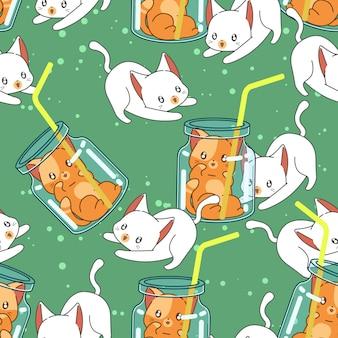 Seamless cute cat in summer pattern.