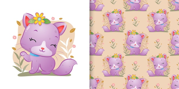 The seamless of the cute cat with the flowers sitting on the garden with the floral background of illustration