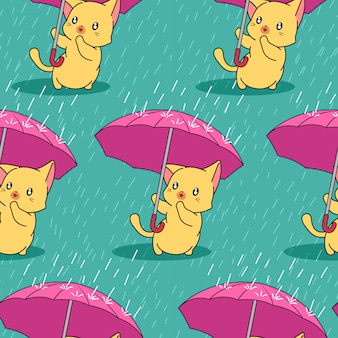 Seamless cute cat with umbrella in rainy day pattern.