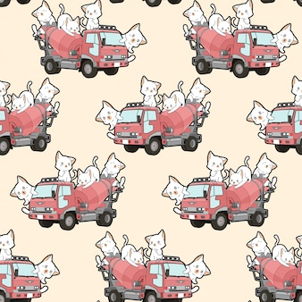 Seamless cute cats on cement mixer truck pattern