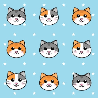Seamless cute cats face and white stars pattern on cyan background