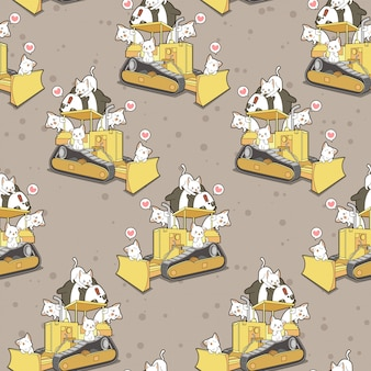 Seamless cute cats and panda on tractor pattern