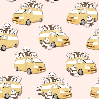 Seamless cute cats and panda and van pattern.