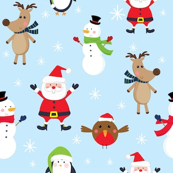 Seamless cute christmas character, santa, snowman, reindeer, penguin and robin