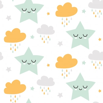 Seamless cute clouds and stars pattern