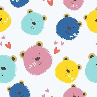 Seamless cute colorful bear pattern  background