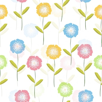 Seamless cute colorful flower pattern