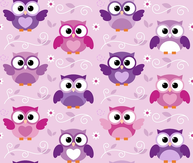 Seamless cute colourfull owl kids pattern