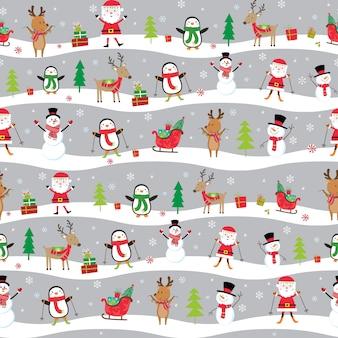 Seamless cute cute santa claus and friends pattern