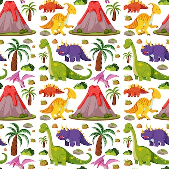 Seamless cute dinosaurs and volcano isolated on white background