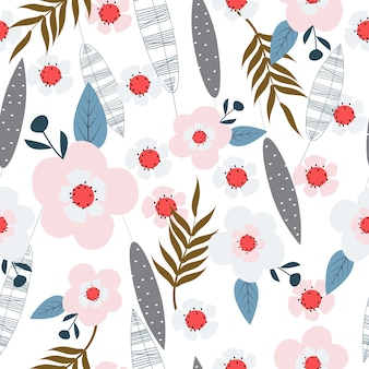 Seamless cute floral surface pattern background