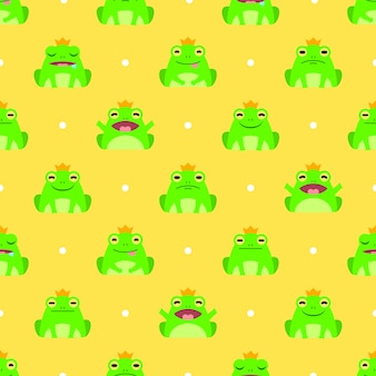 Seamless cute frog vector pattern background
