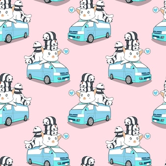 Seamless cute giant cat and pandas on blue van pattern.