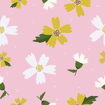 シームレスなかわいい手描き花柄背景ベクトル