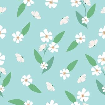 シームレスなかわいい手描き花柄の背景