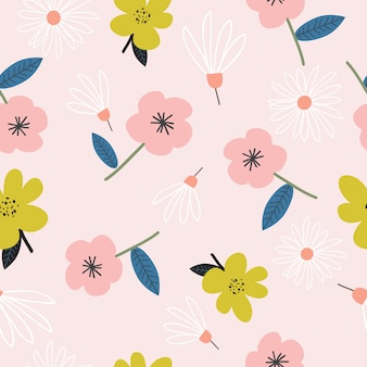 Seamless cute hand drawn flowers pattern