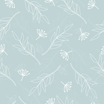 Seamless cute linen floral pattern background