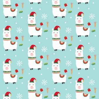 Seamless cute llama with christmas gift