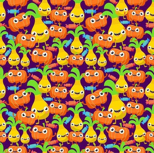 Seamless cute monster pineapple and pumpkin pattern