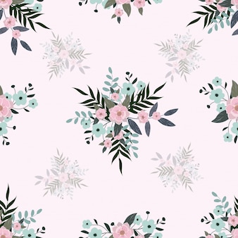 Seamless cute pastel floral bouquet pattern