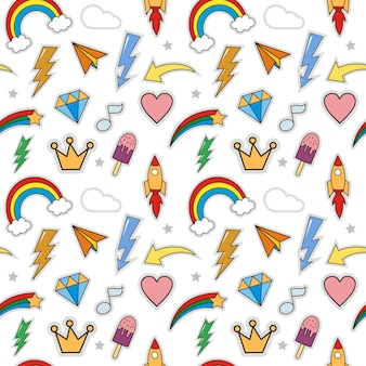 Seamless of cute patches cartoon stickers