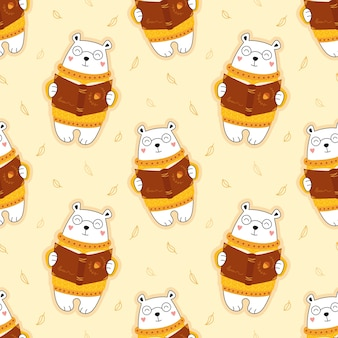 Seamless cute pattern, bear reads a book, autumn leaf fall, for children.