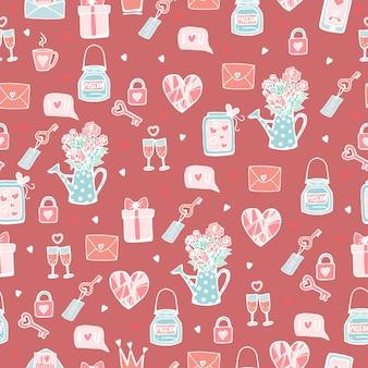 연인이나 결혼식 소녀를 위한 매끄러운 귀여운 패턴 요소가 있는 분홍색 패턴