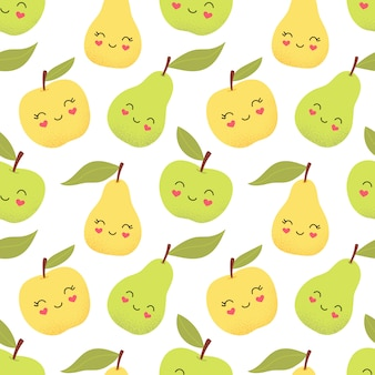 シームレスなかわいいパターン、面白いリンゴとナシ。