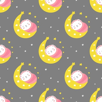 Seamless cute pattern, little kitten sleeps on the crescent moon, good night.