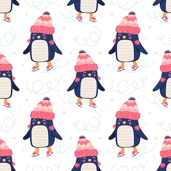 Seamless cute pattern, penguins on the ice rink. printing for packaging, wallpaper, fabric, textile.