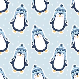 Seamless cute pattern, penguins, snow, snowflakes.