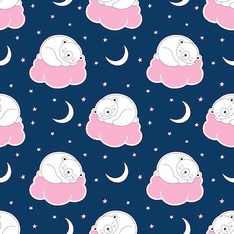 Безшовная милая картина, полярный белый медведь спит на розовом облаке, звездное небо, полумесяц, спокойная ночь.