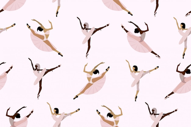 Seamless cute pattern with  african american and european ballet dancers ,young ballerinas in tutu and pointe shoes dancing individually on a white background.