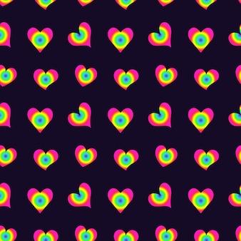 バレンタインデーのベクトルの紫色の背景に虹の手描きの心とシームレスなかわいいパターン...