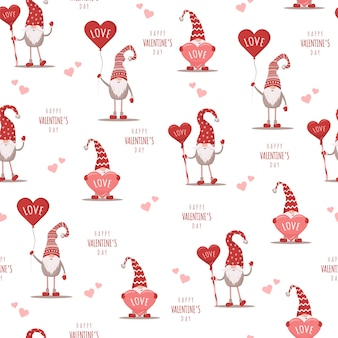 Seamless cute pattern with scandinavian gnomes