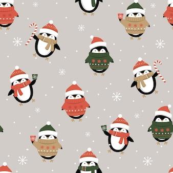 シームレスなかわいいペンギン、クリスマス飾りパターン