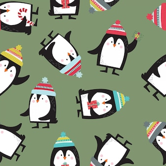 Seamless cute penguin