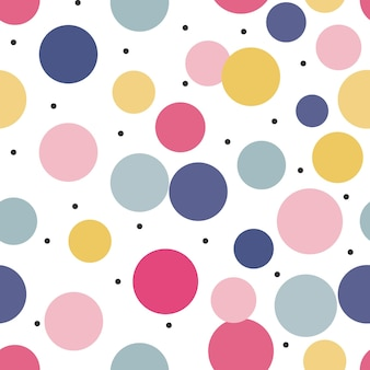 Seamless cute polka dots with colorful design